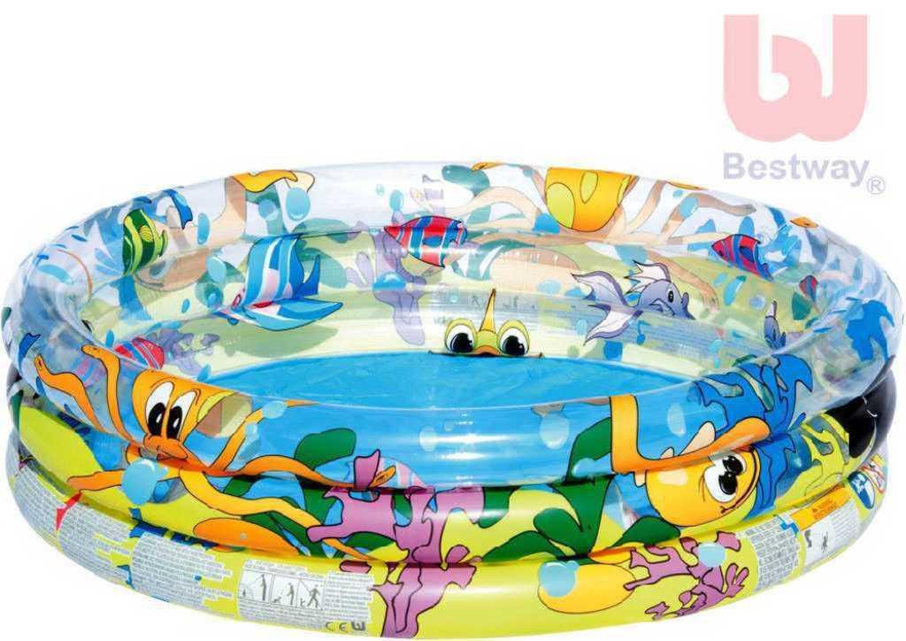 BESTWAY Bazén tříkomorový nafukovací 102x25cm mořský svět P51008
