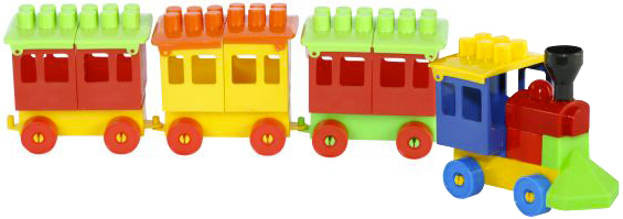 PL Baby vláček barevný set mašinka + 3 vagonky stavebnice pro miminko