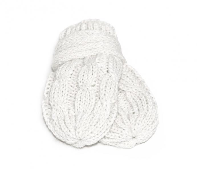 BABY NELLYS Zimní pletené kojenecké rukavičky se vzorem - bílé - 0-1rok