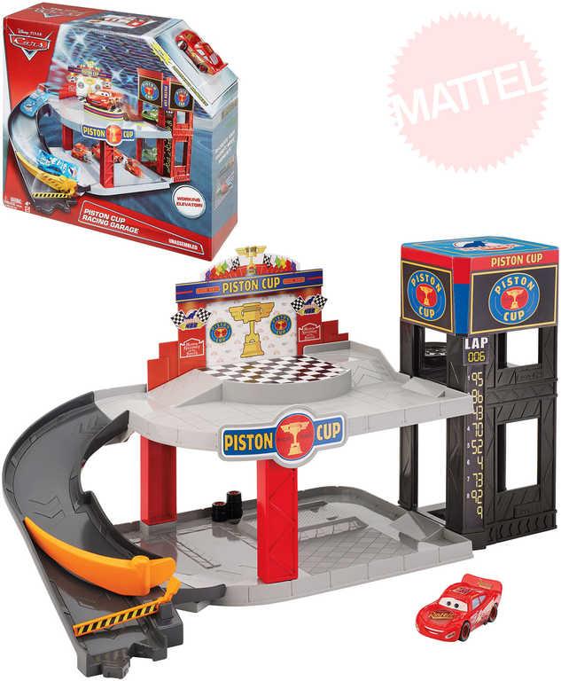 MATTEL Garáž dvoupatrová Cars (Auta) herní set s autíčkem a funkčním výtahem