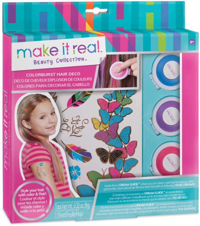 Křídy dětské barevné na vlasy kreativní set 3ks s tetováním