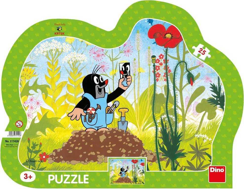 DINO Puzzle obrysové deskové 25 dílků Krtek a kalhotky (Krteček) 30x23cm