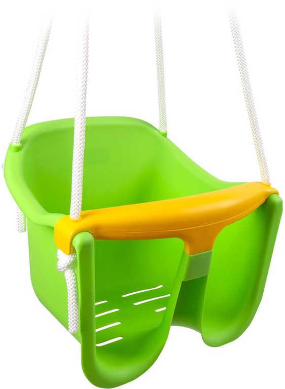 Baby houpačka plastová se zábranou Zelená skořepina závěsná pro nejmenší