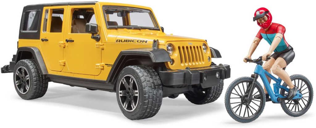 BRUDER 02543 Auto Jeep Wrangler Rubicon Unlimited set s kolem a cyklistou