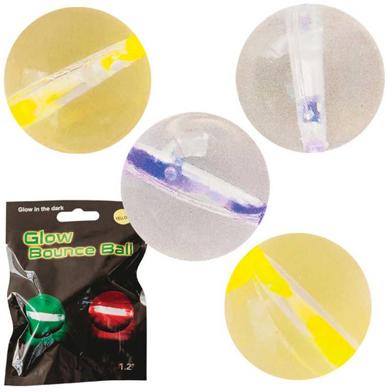 Balonek skákací neonový žlutý 2ks set se svítícími tyčinkami 4ks v sáčku