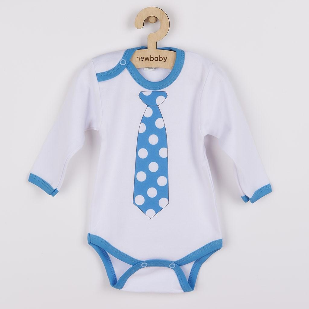 Body s potiskem New Baby s tyrkysovou kravatou
