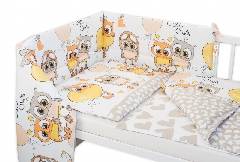 baby-nellys-3-dilna-sada-mantinel-s-povlecenim-135x100-cm-cute-owls-bezova-135x100