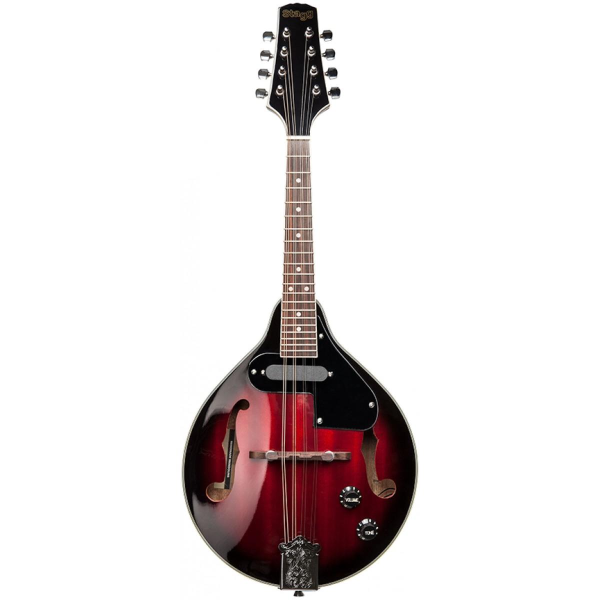 Stagg M50 E, elektroakustická bluegrassová mandolína, redburst