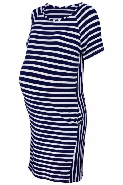 Těhotenské proužkované šaty s kr. rukávem a kapsami