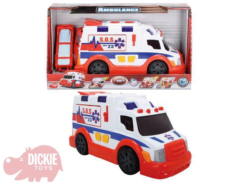 DICKIE Auto SOS ambulance Sanitka v krabici 33 cm Světlo Zvuk