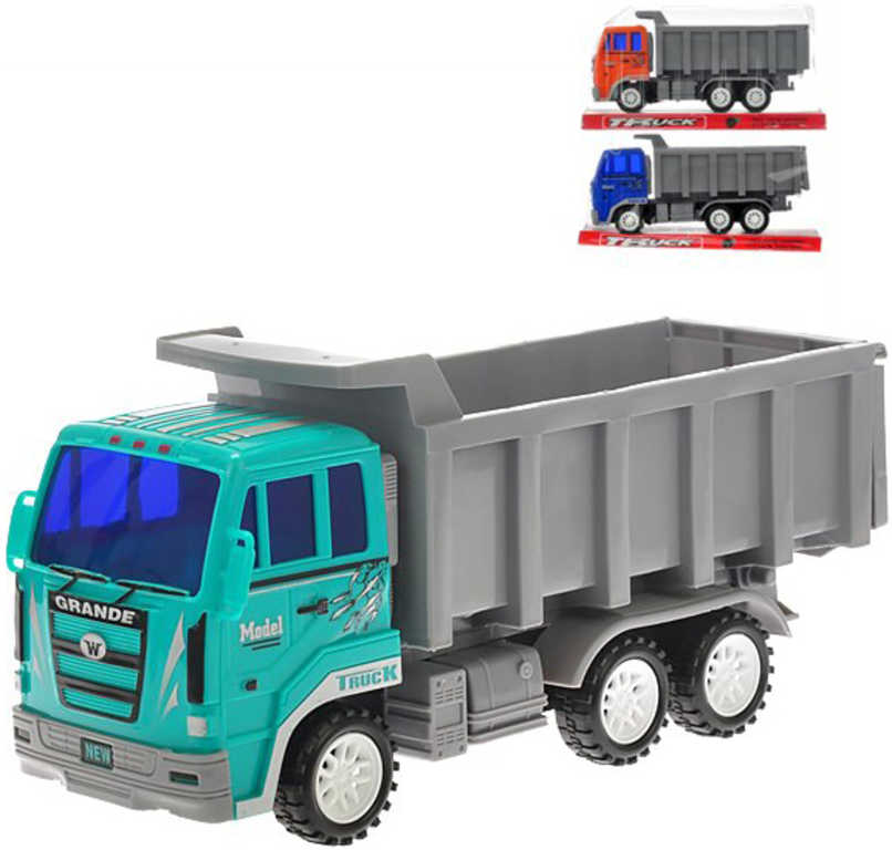 Auto nákladní sklápěčka 24cm na setrvačník 3 barvy plast