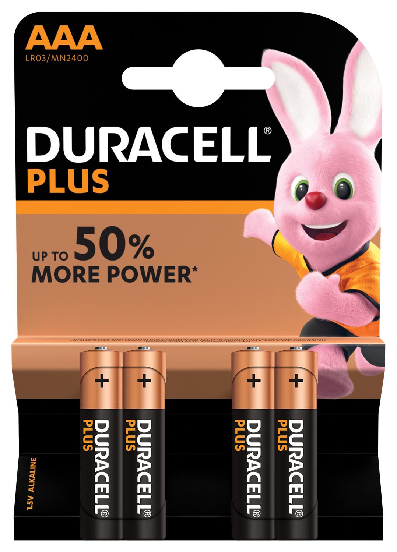 Duracell Plus AAA baterie, 1.5V alkalické, 4ks