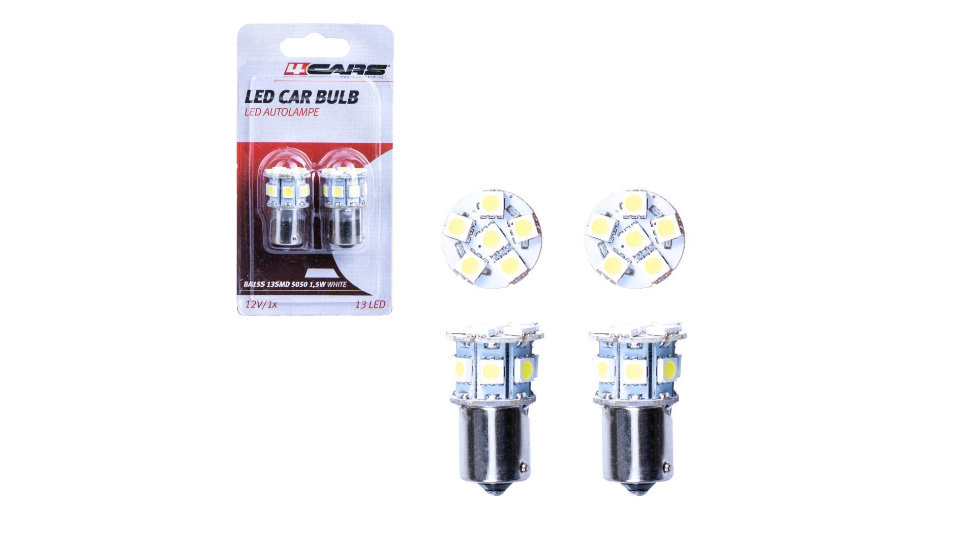 4CARS HQ sada LED žárovek BA15S 13SMD 5050 1.5W bílá