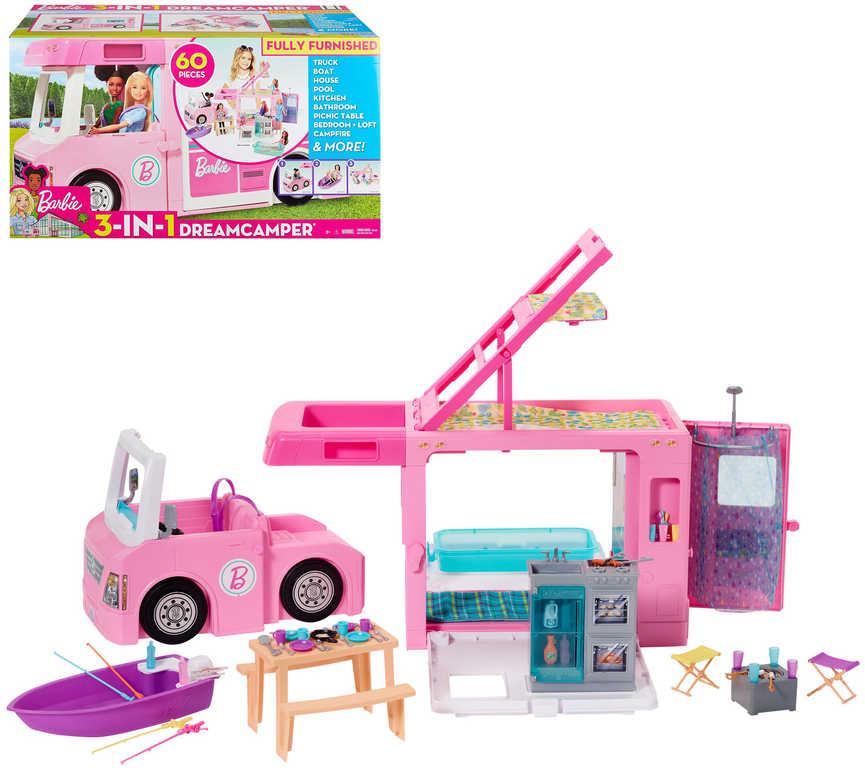 MATTEL BRB Barbie Karavan snů 3v1 herní set obytný vůz variabilní s doplňky plast