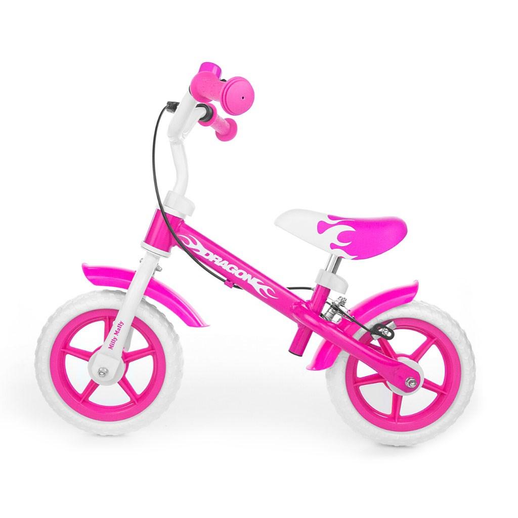 Dětské odrážedlo kolo Milly Mally Dragon s brzdou - pink - růžová