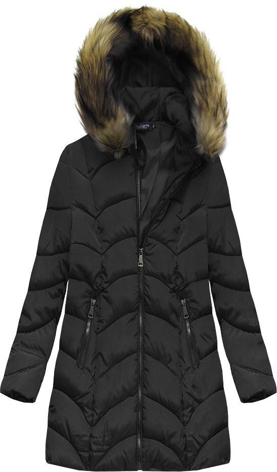 Černá prošívaná bunda s kapucí (X1801X)