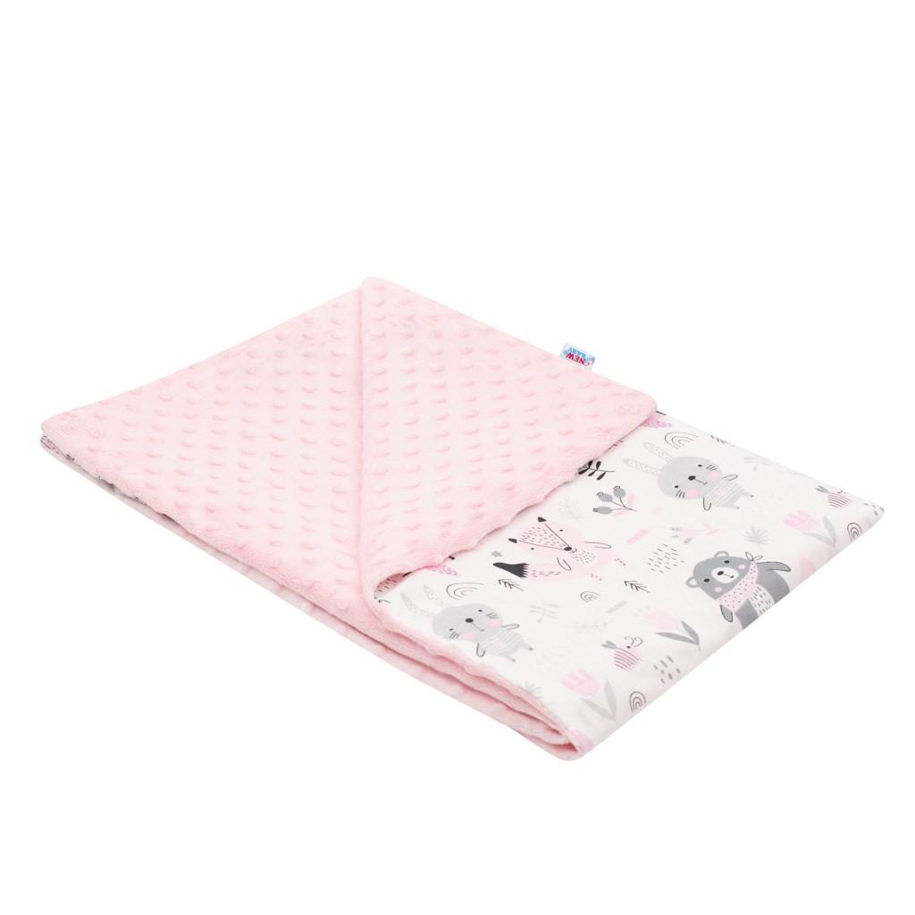 Dětská deka z Minky New Baby Medvídci 80x102 cm - růžová