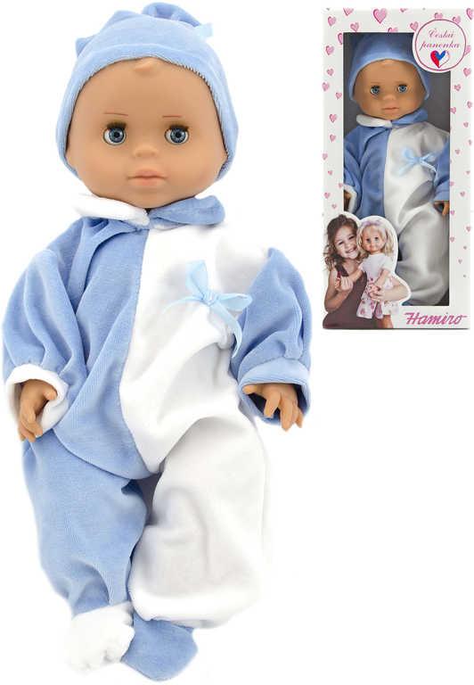 HAMIRO Panenka miminko 40cm pevné tělo modro-bílý overal s kloboučkem