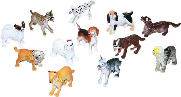 Psi různé rasy plastové figurky 4-5 cm set 12 ks v sáčku