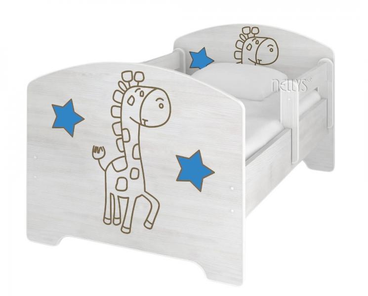 NELLYS Dětská postel Žirafka STAR modrá v barvě norské borovice + matrace zdarma - 140x70