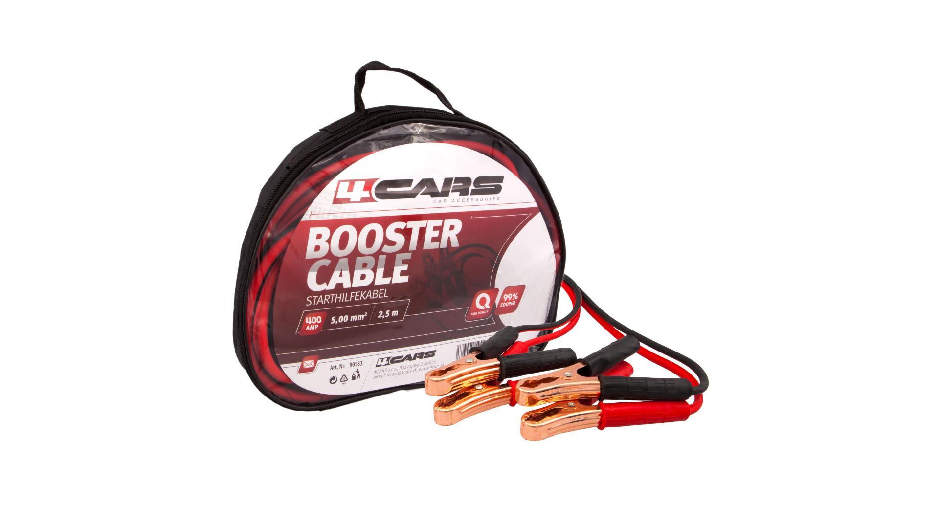 4CARS Startovací kabely 400amp, 5.0mm², 2.5m