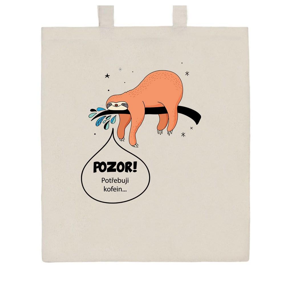 Bavlněná nákupní taška s potiskem New Baby POZOR! Potřebuji kofein... - přírodní