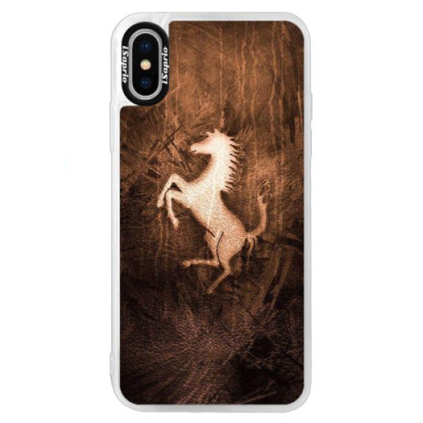 Neonové pouzdro Blue iSaprio - Vintage Horse - iPhone X