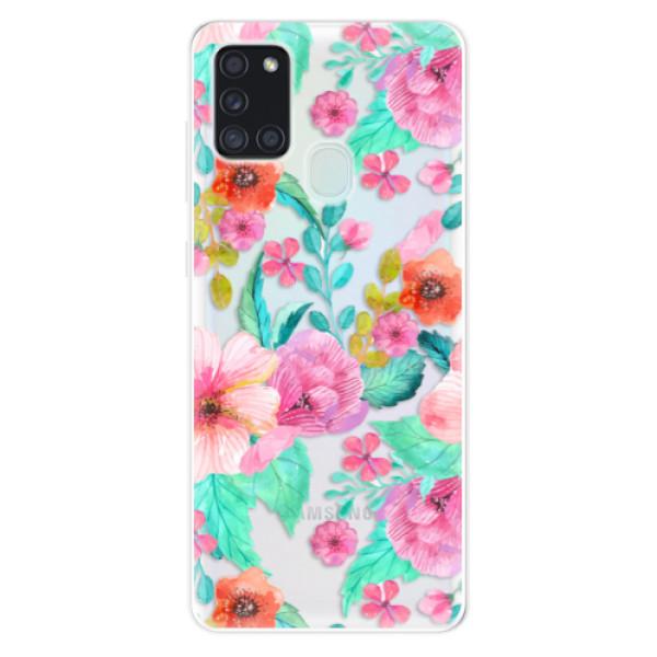 Odolné silikonové pouzdro iSaprio - Flower Pattern 01 - Samsung Galaxy A21s