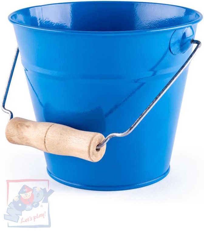 WOODY Kyblík dětský zahradní modrý kov 15cm dřevěná rukojeť