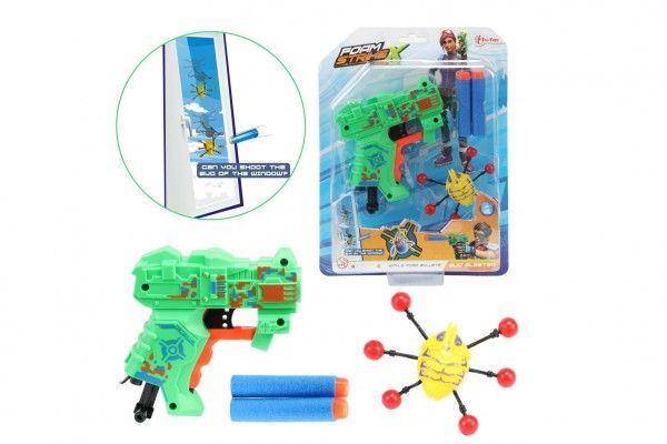 Pistole na pěnové náboje 11cm plast + náboje 2ks s broukem na kartě