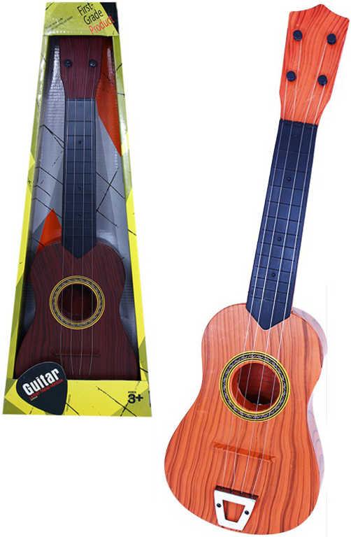 Kytara plastová dětská 55cm v krabici imitace dřeva 2 barvy HUDBNÍ NÁSTROJE