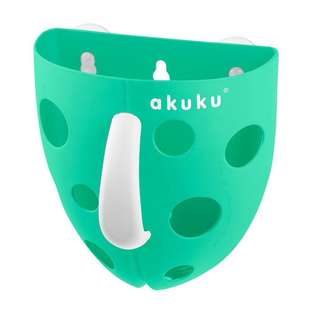 Plastový box na hračky do vany Akuku - mátový - zelená