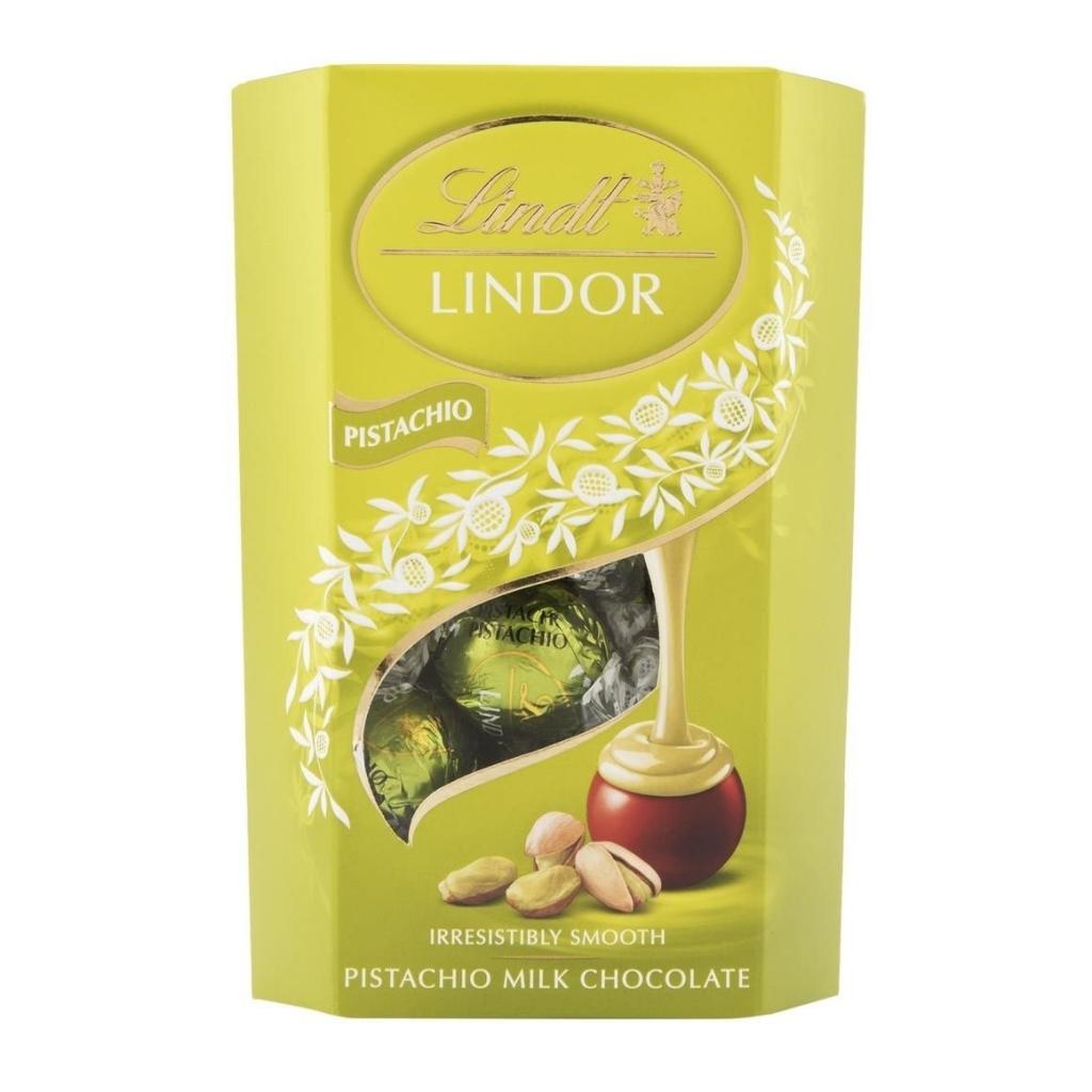 Lindt Lindor Pistachio mléčná čokoláda s pistáciovou krémovou náplní 200 g