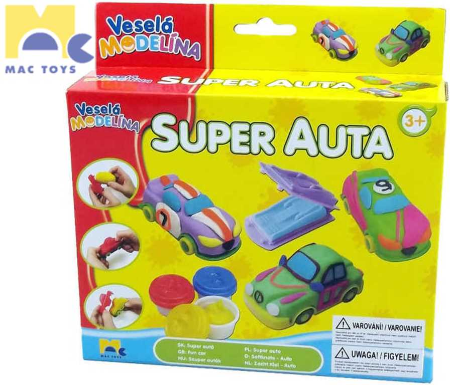 MAC TOYS Modelína veselá super auta set s formičkami a vykrajovátky