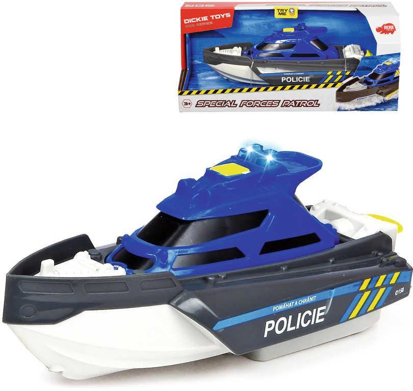DICKIE Loď policie Special Forces modrá na natažení na baterie Světlo Zvuk