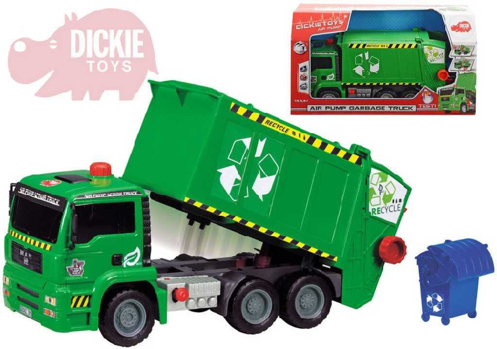 DICKIE Auto popelářské 31cm set s popelnicí na volnoběh 1:24 plast