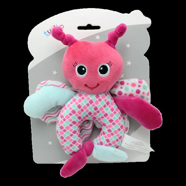 Plyšová hračka Tulilo s rolničkou a šustícími křídly Motýlek, 17 cm - růžová, K19