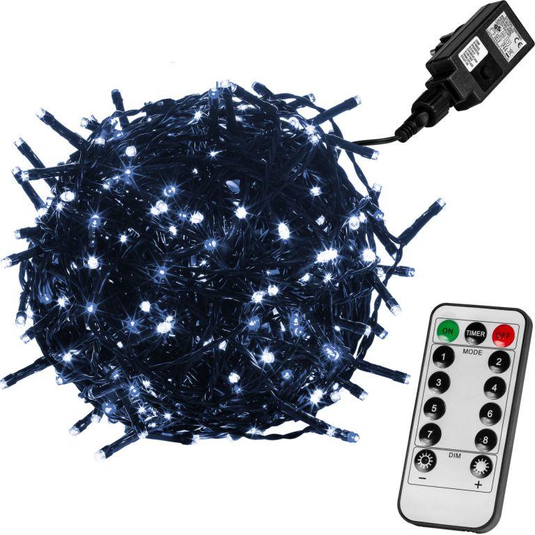 Vánoční LED osvětlení 10 m - studená bílá 100 LED + ovladač - zelený kabel