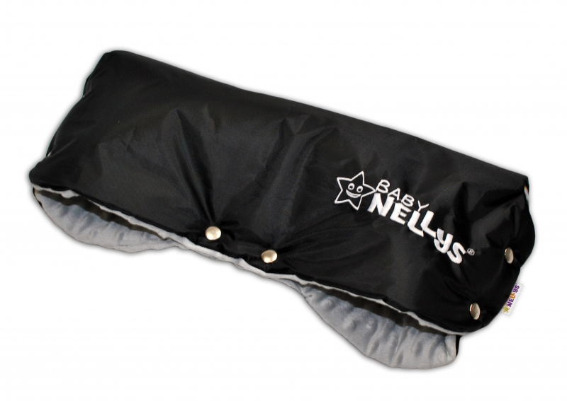 Rukávník ke kočárku Baby Nellys ® minky - sv. šedá/černý
