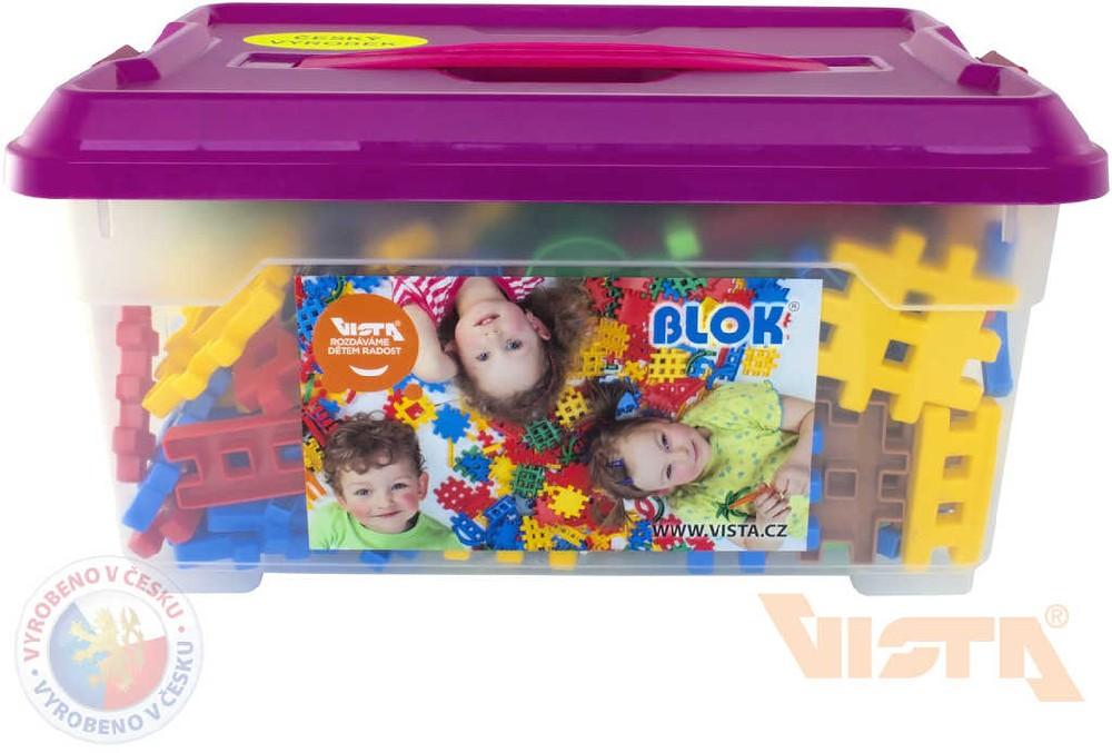 VISTA BLOK Plastová STAVEBNICE set 272 dílků + 8 koleček v boxu pro nejmenší