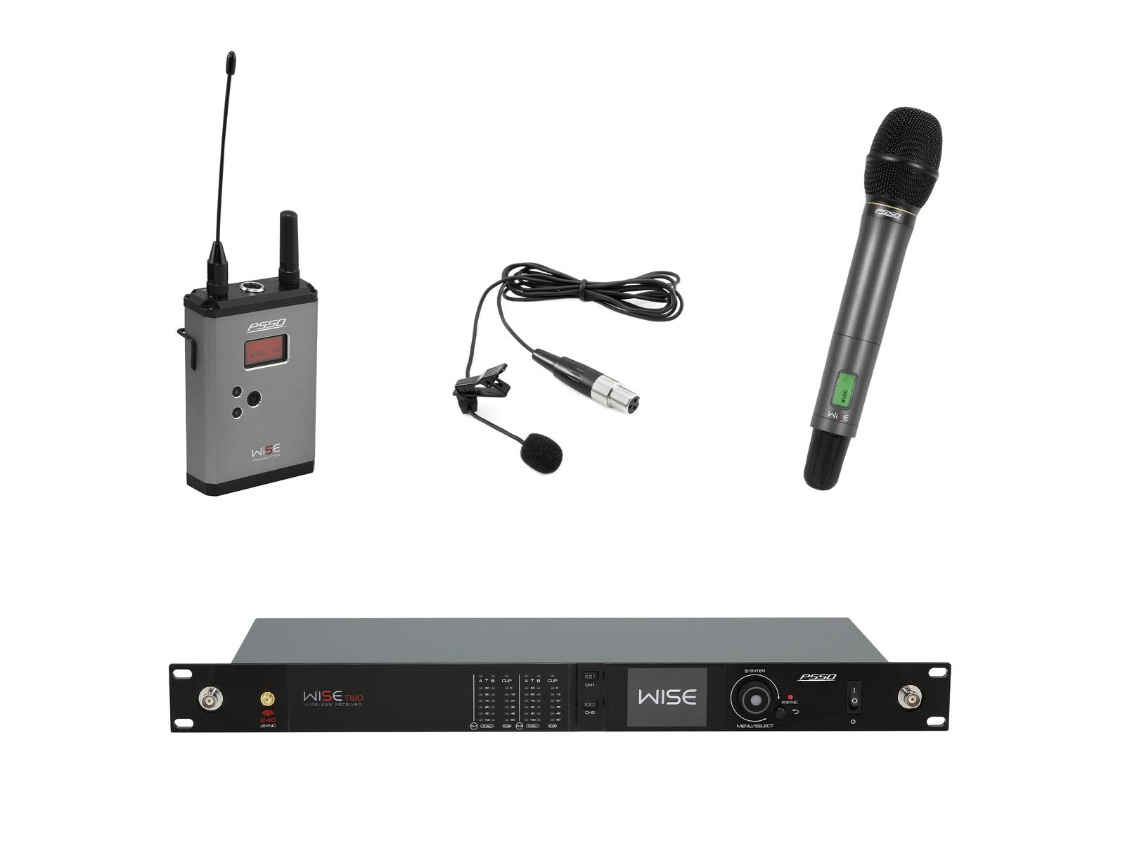 PSSO Set WISE TWO, 2-kanálový přijímač + vysílač + ruční a klopový mikrofon 518 - 548 MHz