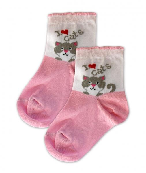 Baby Nellys Bavlněné ponožky I love cats - růžovo/bílé, vel. 17-18cm - 17-18 vel. ponožek