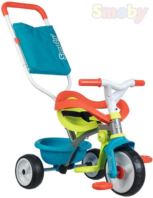 SMOBY Baby tříkolka šlapací Be Move Confort 68x52x52cm modrozelená s vodící tyčí 2v1