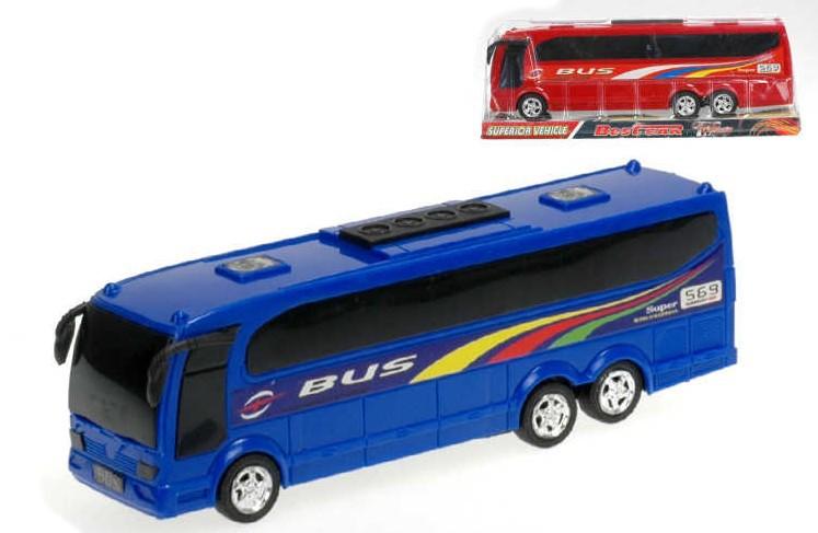 Autobus plastový zájezdový 25cm na setrvačník 2 barvy