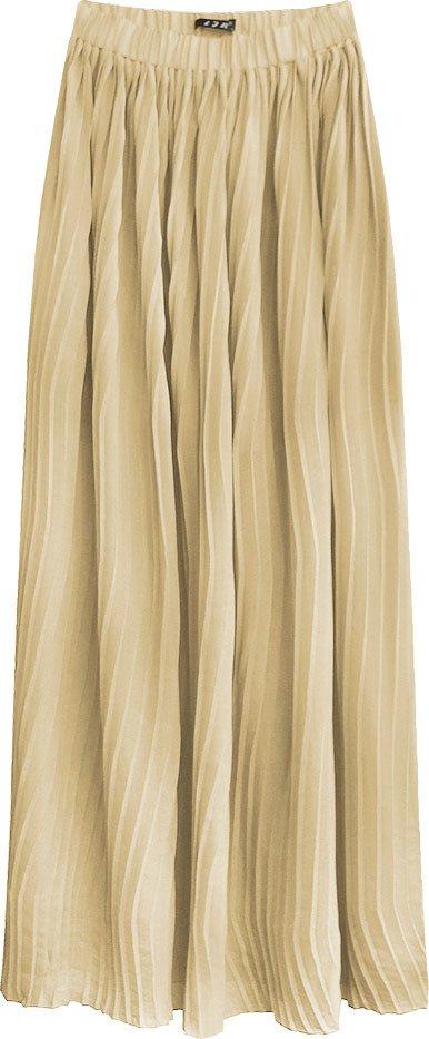 Světle béžová plisovaná maxi sukně (9237/1)