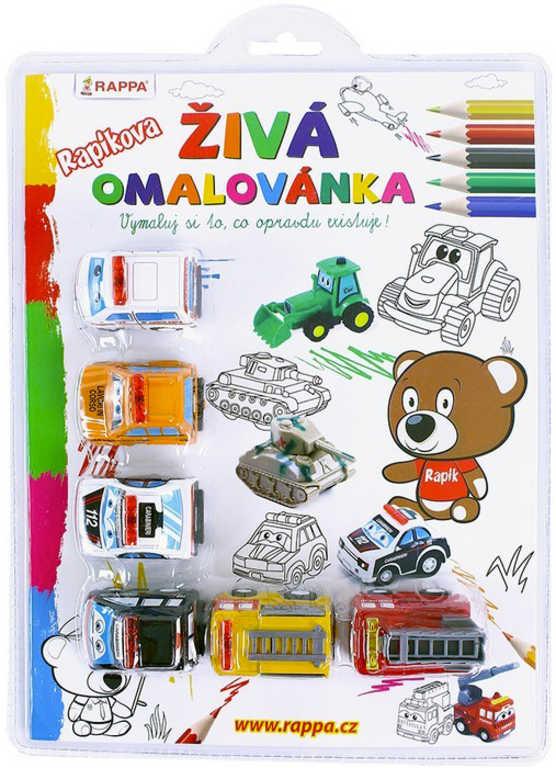 Rapíkova živá omalovánka Záchranáři set s auty 6ks plast