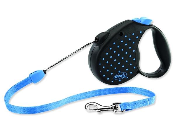 Vodítko FLEXI Color Dots lankové modré M 5 m/20 kg