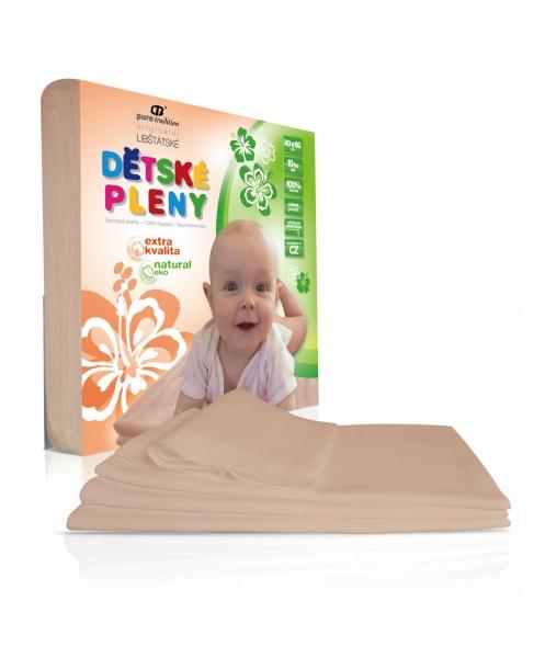 Extra kvalitní nebělené dětské pleny 80x80 cm - Natural