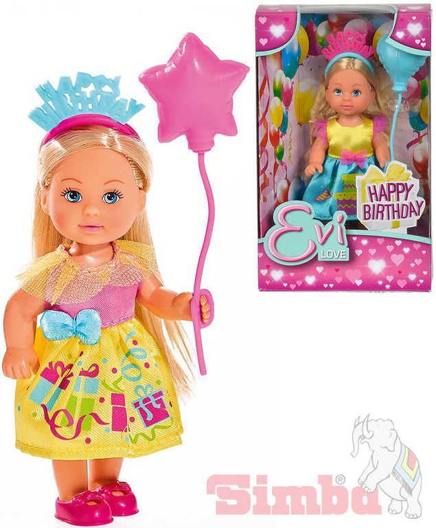 SIMBA Panenka Evička 12cm narozeninový set Happy Birthday Evi Love 2 druhy