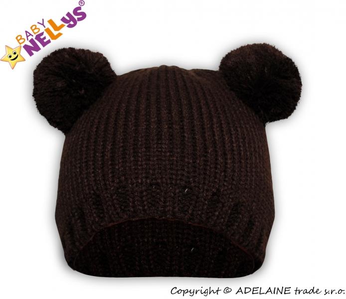 Zimní čepice Baby Nellys ® Medvídek - tm. hnědý - 38/40 čepičky obvod
